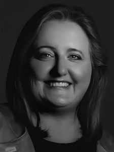 Adena Harmon of Zing in black and white.